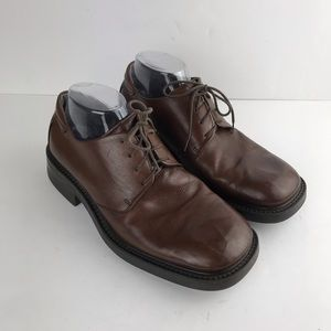 Ecco Mens Brown Leather Lace Up Oxfords Size 8.5
